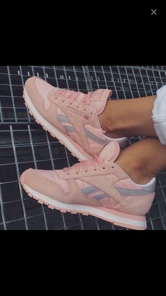 shoes sneakers pink cute reebok