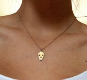 jewels,skull,necklace,gold,tumblr,cute