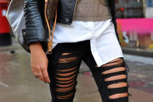 Pants: grunge, ripped, black, darkness, girl, trendy, ripped jeans ...
