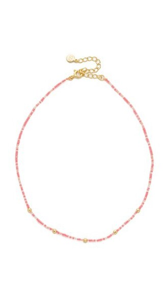 beaded necklace choker necklace hot gold pink hot pink jewels