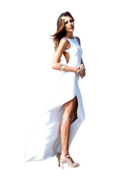 dress slit dress white dress formal dress backless dress