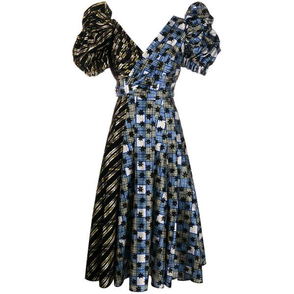 Chopova Lowena panelled puff-sleeve dress - Blue