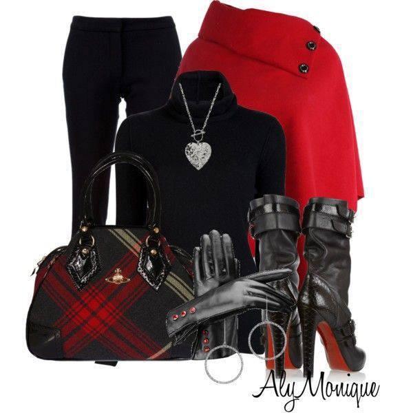 bag heels boots red jacket tartan pants