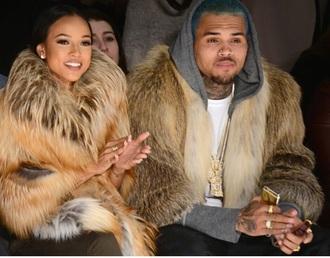 coat karrueche chris brown fur coat singer