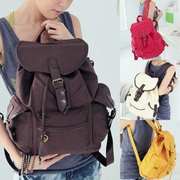NEW Unique Vintage Travel Satchel School Bag Canvas Backpack Rucksack Shoulder