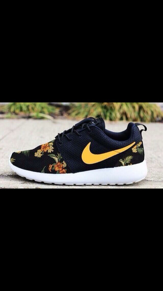 shoes nike nike roshe run nike running shoes flowers roses yellow nike sneakers