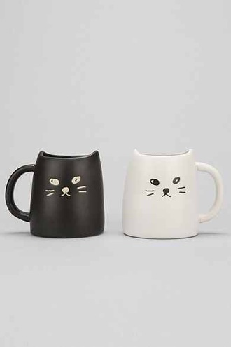 cup of couple mug mug set mug cup set mug cups coffee cats cats cats cats two cats white mug white mugs black coffee animals ❤ black and white home accessory