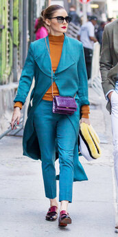 shoes,pants,blazer,top,olivia palermo,blogger,streetstyle,colorful