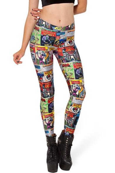 Colorful cartton patterns fashionable elastic leggings