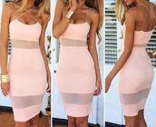 cocktail dress,casual dress,criss cross,chiffon,sheer,mesh,dream closet couture,light pink