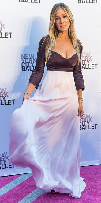dress gown sarah jessica parker satin plunge dress maxi dress