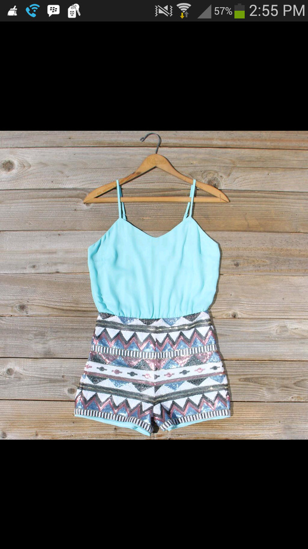 dress glitter romper mint blue romper dressy fashion blue romper