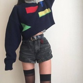 sweater,shapes,80s style,jumper,blue,dark blue,cropped,cropped sweater,cropped jumper,alternative,hipster,geometric,colorful,oversized sweater,oversized