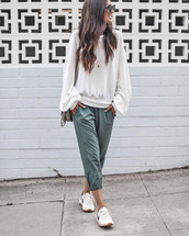 pants,casual,khaki,lounge wear,sweatpants,khaki pants,sweatshirt,white sweater,sneakers,white sneakers