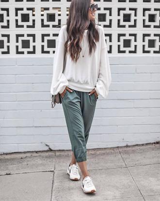 pants casual khaki lounge wear sweatpants khaki pants sweatshirt white sweater sneakers white sneakers