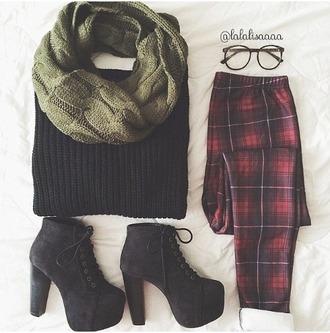 jeans flannel plaid pants scarf khaki sweater shoes