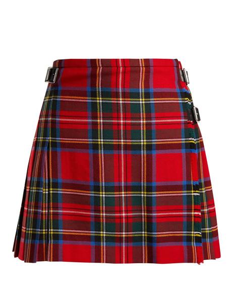 skirt mini skirt mini wool tartan red