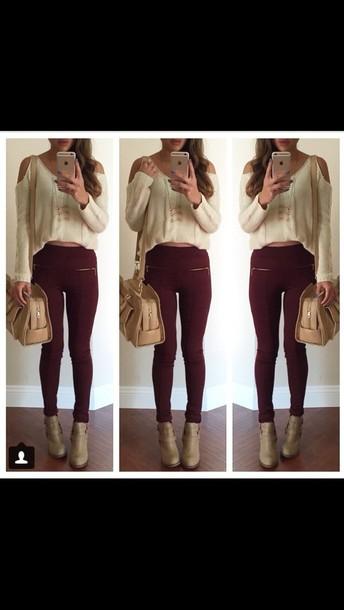 pants fashion red bag