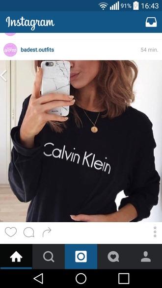 sweater calvin klein black pull