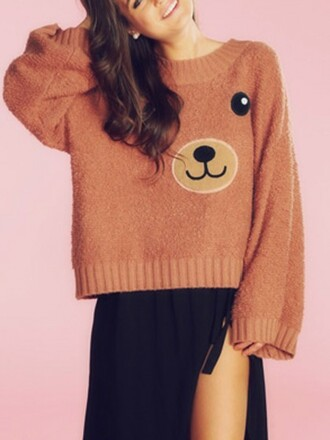 sweater choies brown bear pattern long sleeves loose jumper