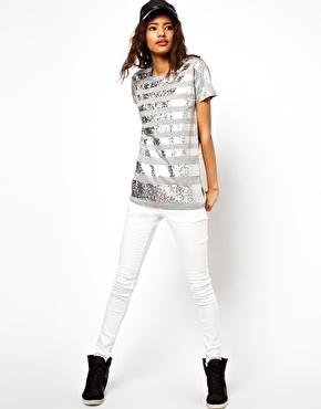 ASOS | ASOS T-Shirt with Hologram Stripes in Foil at ASOS