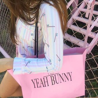 skirt yeah bunny paste stripes pink pastel cute
