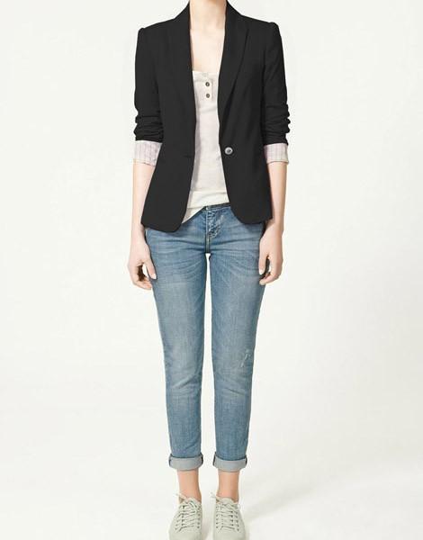 Q019 womens tunic foldable sleeve blazer jacket