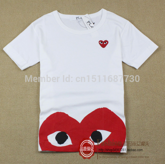 rivenditore online 9376b 4dfa8 Aliexpress.com : Buy fashion brand Cotton T shirt COMME DES GARCONS play  shirt male women's shirts men's male lovers casual tee Japan T112 CDG from  ...