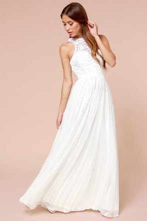 Gorgeous Off White Dress - Maxi Dress - Sequin Dress - Pleated Dress - $297.00