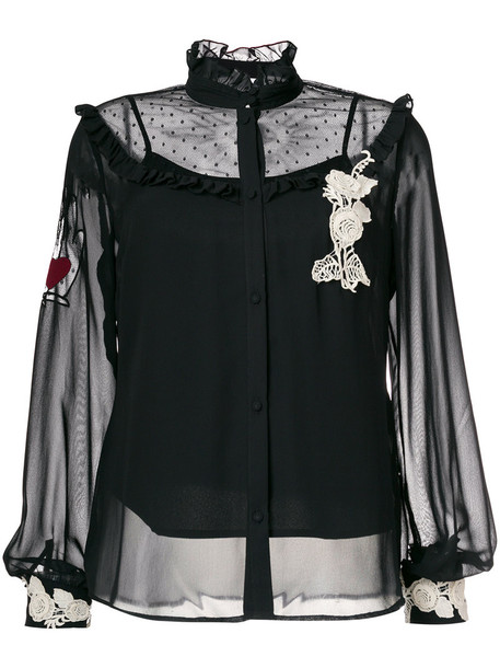 RED VALENTINO blouse embroidered sheer women black top