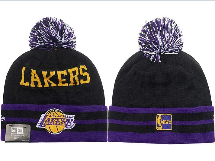 Black Lakers Beanie Knit Hats Pom Poms Winter Caps Los Angeles