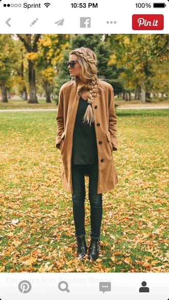 coat fall outfits hairstyles camel coat