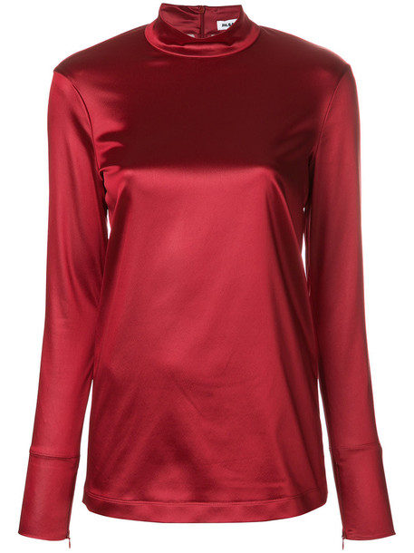 Jil Sander blouse high women high neck spandex red top