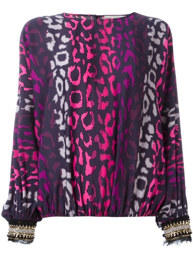 Amen Leopard Print Blouse Womens Size 42 Pinkpurple Silk