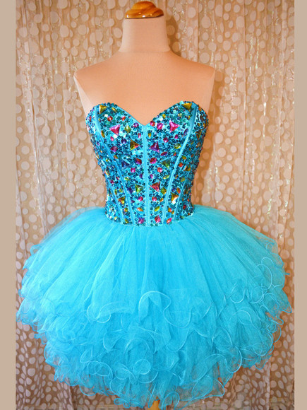 ball gown blue dress short party dresses