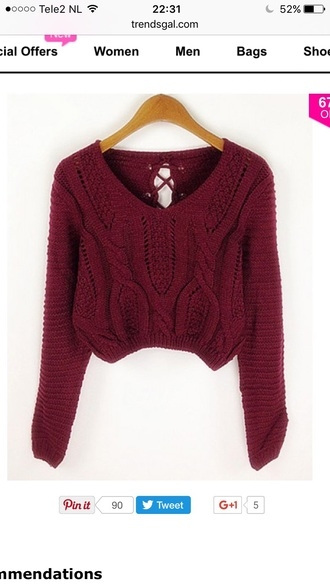 sweater red warm knitwear fashion style long sleeves burgundy fall outfits trendsgal.com