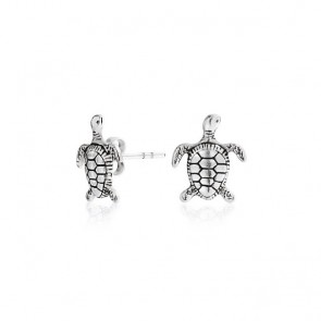 Nautical Hawaiian Sea Turtle Stud Earrings 925 Sterling Silver