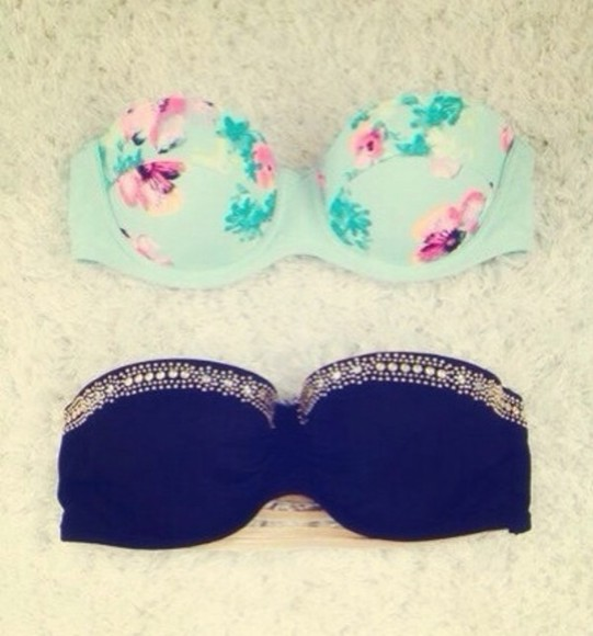 swimwear blue bikini floral black bikini floral swimwear gold sequins jewls strappless pretty bra, blue, floral, bikini, sweet, summer