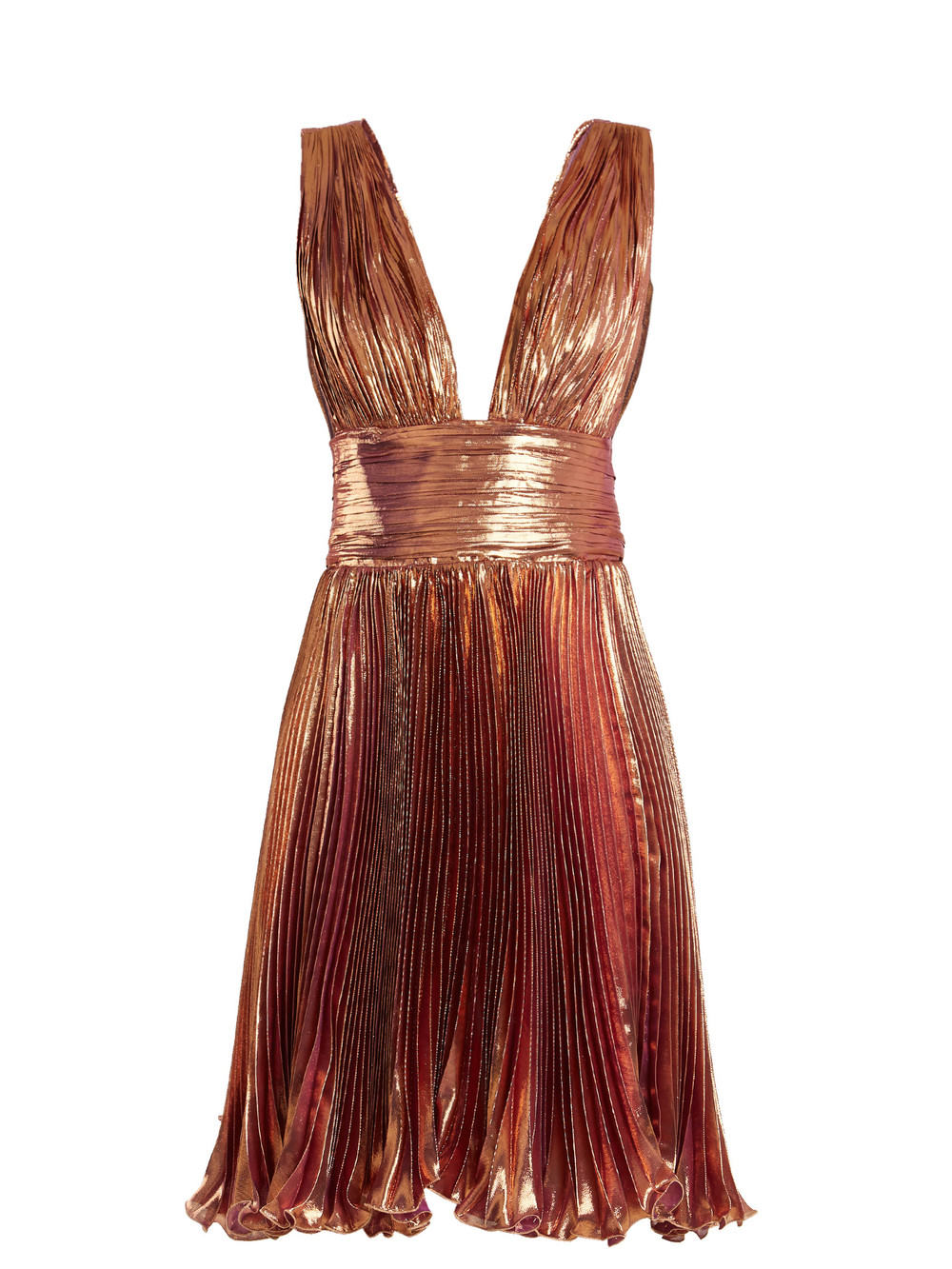 Gold lame mini dress