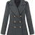 Grey Lapel Long Sleeve Epaulet Buttons Coat - Sheinside.com