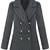 Grey Lapel Long Sleeve Epaulet Buttons Coat - Sheinside.com