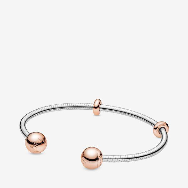 Pandora Moments Snake Chain Style Open Bangle - Size 6.3 Inches | Two Tone | Rose Gold | 588291-
