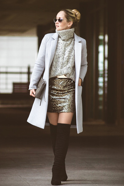 my blonde gal blogger coat sunglasses grey sweater winter sweater sequins thigh high boots grey oversized sweater sequin skirt grey cable knit sweater