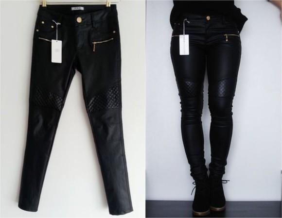 zipper pants leggings leather leather pants