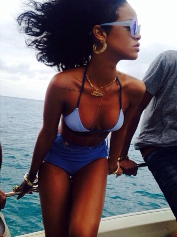 jewels rihanna jewelry bikini light blue gold swimwear sunglasses