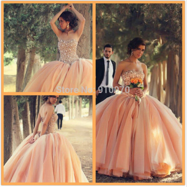 dress champange wedding dress bridal gown champange prom dress pink wedding dress
