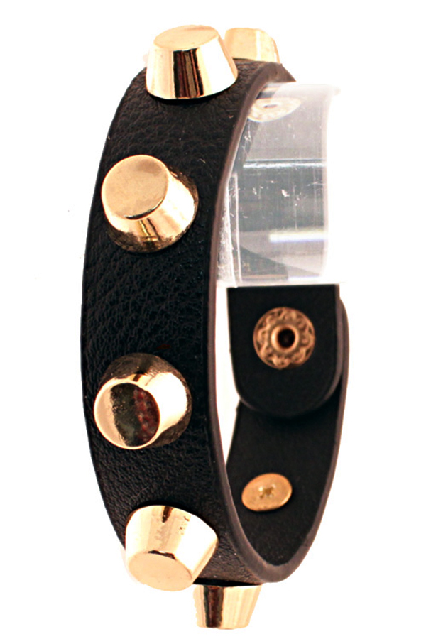 Gold studded leather bracelet in