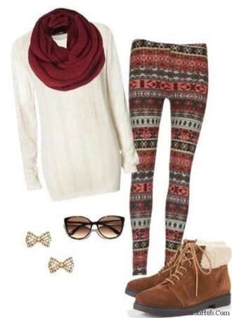 aztec leggings scarf shoes jewels shirt sweater material pattern fall outfits sunglasses aztec blouse white leggings burgundy tribal pattern lovely winter outfits cold funny christmas leggings gold sungasses bow boots brown leather boots