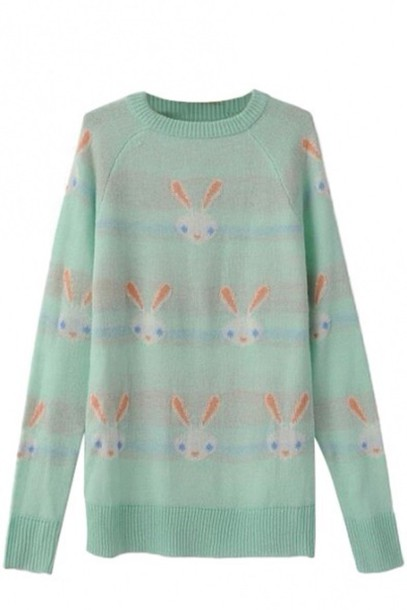sweater pastel goth bunny pastel cute kawaii pastel green lovely fairy kei harajuku lolita