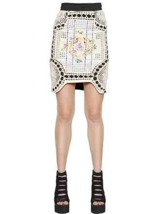 skirt cotton crochet neoprene black beige